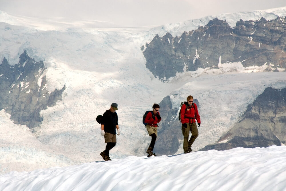 hiking on root glacier