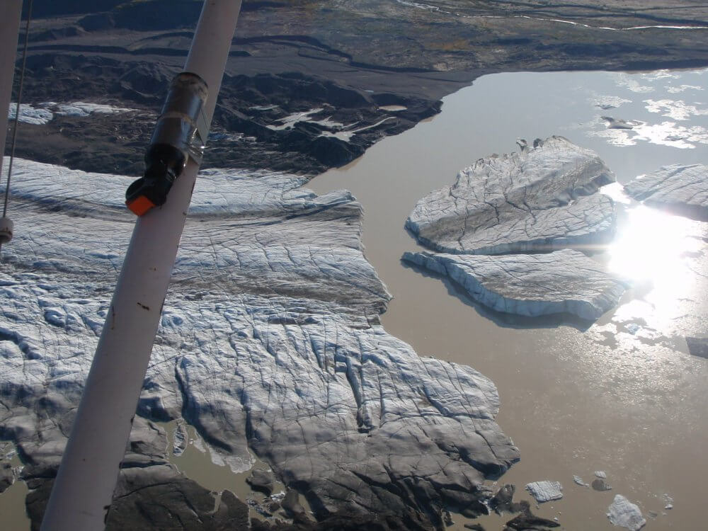 Flying over nizina glacier